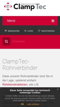 Vorschau der mobilen Webseite www.clamptec.de, ClampTec Verbindungstechnik, Inh. Ralf Donges