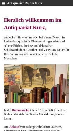Vorschau der mobilen Webseite www.antiquariatkurz.de, Versandantiquariat Rainer Kurz
