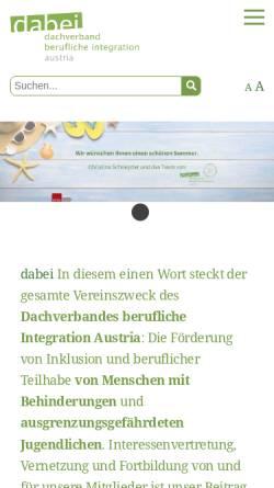 Vorschau der mobilen Webseite www.dabei-austria.at, Dachverband berufliche Integration