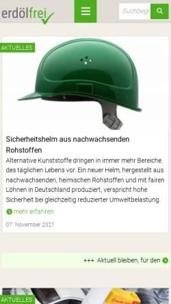 Vorschau der mobilen Webseite www.erdoelfrei.de, Alternativen zum Erdöl als Rohstoff und Energieträger