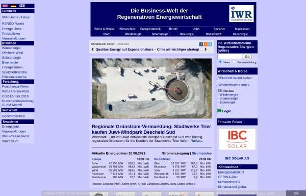 Vorschau von www.uni-muenster.de, Regenerative bzw. Erneuerbare Energien vom Internationalen Wirtschaftsforum