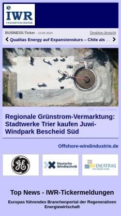 Vorschau der mobilen Webseite www.uni-muenster.de, Regenerative bzw. Erneuerbare Energien vom Internationalen Wirtschaftsforum