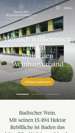 Vorschau der mobilen Webseite www.badischer-weinbauverband.de, Badischer Weinbauverband e.V.