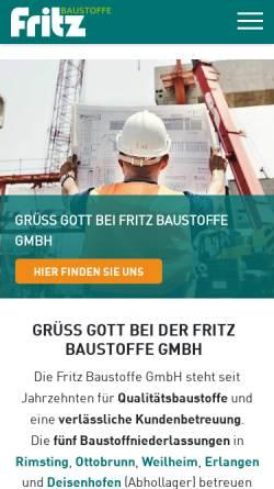 Vorschau der mobilen Webseite www.fritz-baustoffe.de, Fritz Baustoffe