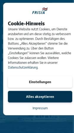 Vorschau der mobilen Webseite www.reederei-frisia.de, Aktiengesellschaft Reederei Norden-Frisia