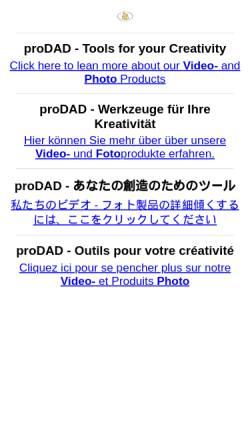 Vorschau der mobilen Webseite www.prodad.de, proDAD GmbH