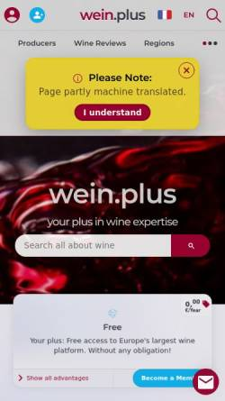 Vorschau der mobilen Webseite www.wein-plus.de, Wein-Plus