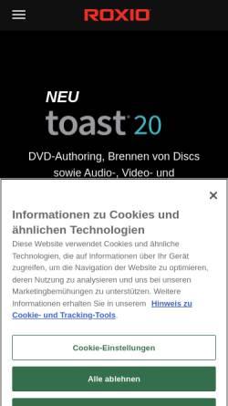 Vorschau der mobilen Webseite www.roxio.de, Roxio UK Ltd.