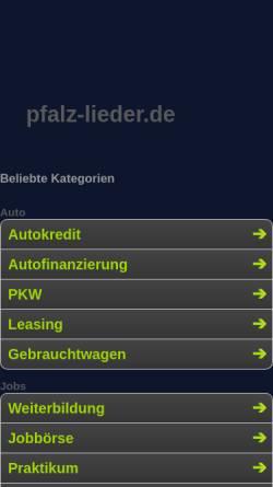 Vorschau der mobilen Webseite www.pfalz-lieder.de, Lieder und Texte in Pfälzer Mundart