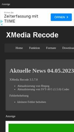 Vorschau der mobilen Webseite www.xmedia-recode.de, XMedia Recode