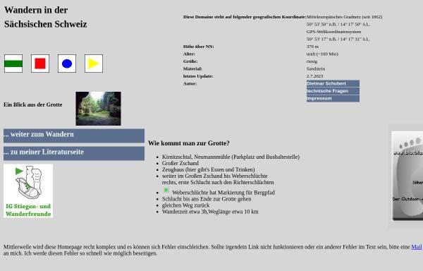 Vorschau von www.webergrotte.de, Wandern in der Sächsischen Schweiz