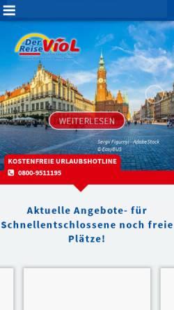 Vorschau der mobilen Webseite www.viol-reisen.de, Alexander Viol GmbH & Co. KG