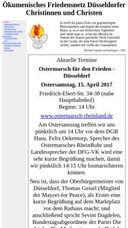 Vorschau der mobilen Webseite www.ofdc.de, Ökumenisches Friedensnetz Düsseldorfer Christinnen und Christen