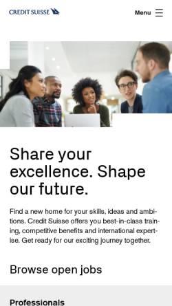 Vorschau der mobilen Webseite www.credit-suisse.com, Credit Suisse Gruppe