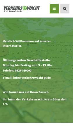 Vorschau der mobilen Webseite www.vwgt.de, Verkehrswacht Kreis Gütersloh e.V.