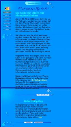 Vorschau der mobilen Webseite www.klumpfusskinder.de, Eltern mit Klumpfußkindern