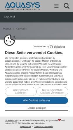 Vorschau der mobilen Webseite www.aquasys.at, Aquasys Technik GmbH