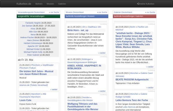 Vorschau von www.kulturbox.de, Kultursuchmaschine