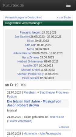 Vorschau der mobilen Webseite www.kulturbox.de, Kultursuchmaschine