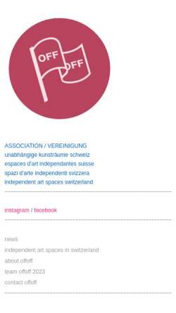 Vorschau der mobilen Webseite www.offoff.ch, OFFOFF - unabhängige Kunsträume der Schweiz