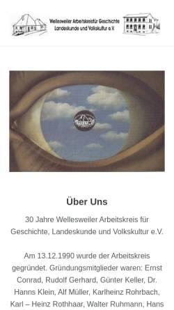 Vorschau der mobilen Webseite www.wak-geschichte.de, Wellesweiler Arbeitskreis für Geschichte, Landeskunde und Volkskultur e.V.