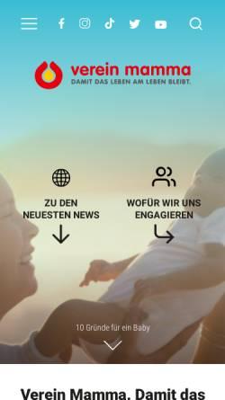 Vorschau der mobilen Webseite www.mamma.ch, Schweizerische Hilfe für Mutter und Kind