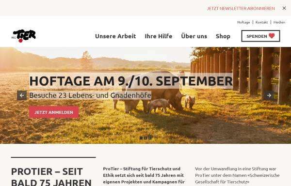 Vorschau von www.protier.ch, Pro Tier - Stiftung