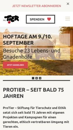 Vorschau der mobilen Webseite www.protier.ch, Pro Tier - Stiftung