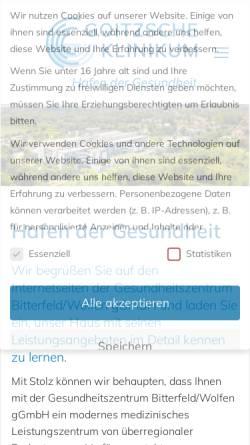 Vorschau der mobilen Webseite www.gzbiwo.de, Gesundheitszentrum Bitterfeld/Wolfen gGmbH