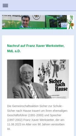 Vorschau der mobilen Webseite www.sicherzurschule.de, Gemeinschaftsaktion Sicher zur Schule