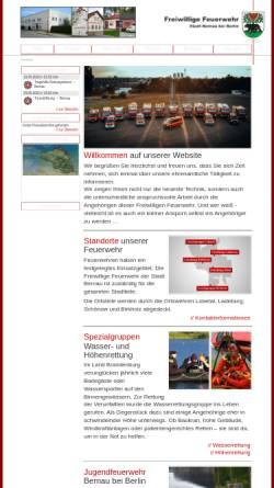 Vorschau der mobilen Webseite www.feuerwehr-bernau.de, Freiwillige Feuerwehr der Stadt Bernau bei Berlin