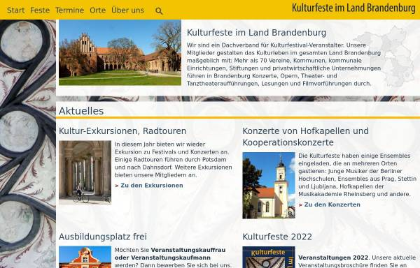 Vorschau von www.kulturfeste.de, Kulturfeste im Land Brandenburg e.V.