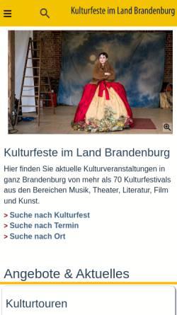 Vorschau der mobilen Webseite www.kulturfeste.de, Kulturfeste im Land Brandenburg e.V.