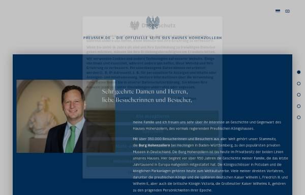 Vorschau von www.preussen.de, Preussen.de - Die offizielle Internet-Präsenz des Hauses Hohenzollern