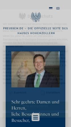 Vorschau der mobilen Webseite www.preussen.de, Preussen.de - Die offizielle Internet-Präsenz des Hauses Hohenzollern