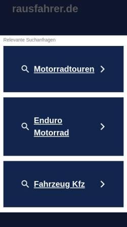 Vorschau der mobilen Webseite www.rausfahrer.de, Die Rausfahrer - Moppedtouren um Berlin