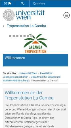 Vorschau der mobilen Webseite www.lagamba.at, Tropenstation La Gamba in Costa Rica