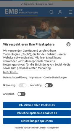 Vorschau der mobilen Webseite www.emb-gmbh.de, EMB Energie Mark Brandenburg GmbH
