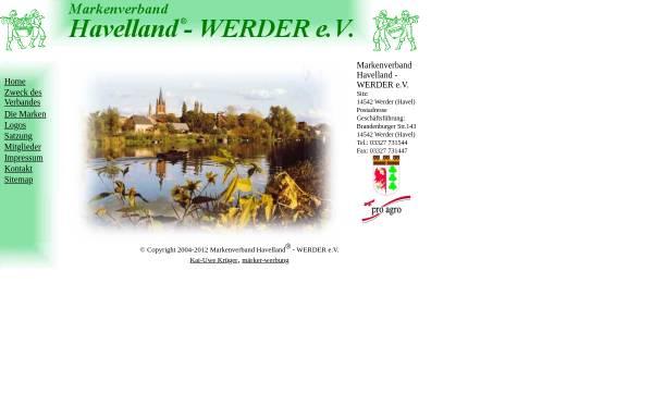 Vorschau von www.havelland-werder.de, Markenverband Havelland-Werder e.V.