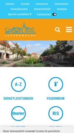 Vorschau der mobilen Webseite www.luckenwalde.de, Stadt Luckenwalde