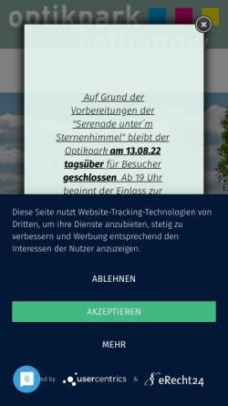 Vorschau der mobilen Webseite www.optikpark-rathenow.de, Optikpark Rathenow