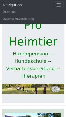 Vorschau der mobilen Webseite www.proheimtier.de, Pro Heimtiere