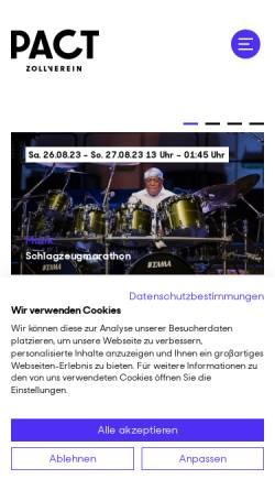 Vorschau der mobilen Webseite www.pact-zollverein.de, PACT Zollverein (Performing Arts Choreographisches Zentrum NRW Tanzlandschaft Ruhr)
