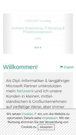 Vorschau der mobilen Webseite www.carecom.de, Carecom Dipl.-Inform. Harald Mühlhoff