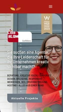 Vorschau der mobilen Webseite www.lisa-blum.de, Lisa Blum, Grafikbüro