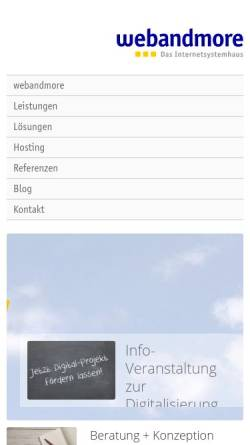 Vorschau der mobilen Webseite www.webandmore.de, web and more - Das Internetsystemhaus
