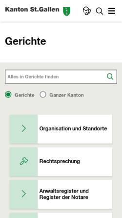 Vorschau der mobilen Webseite www.gerichte.sg.ch, St.Gallische Gerichte