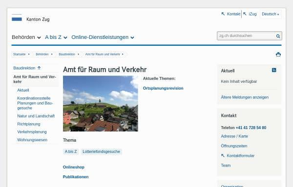 Vorschau von www.zug.ch, Raumplanung Kanton Zug