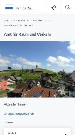 Vorschau der mobilen Webseite www.zug.ch, Raumplanung Kanton Zug