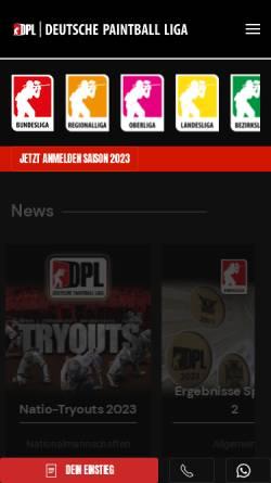 Vorschau der mobilen Webseite dpl-online.de, Deutsche Paintball Liga